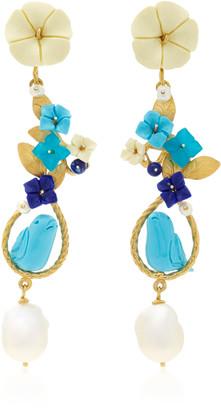 OF RARE ORIGIN Exclusive: Mating Bird 18K Gold Multi-stone Earring