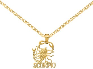 14K Yellow Gold Block Scorpio Charm with 18-inch Cable Rope Chain by Versil