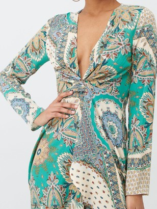 Missguided Scarf Print Twist Front Mini Dress - Green