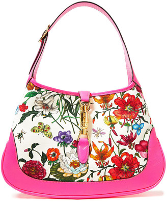 Gucci Leather-trimmed Floral-print Canvas Shoulder Bag