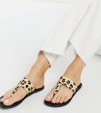 ASOS DESIGN Wide Fit Function leather toe thong sandals in leopard