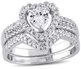 1 3/8 CT. T.W. Heart Cubic Zirconia Halo Bridal Set in Sterling Silver