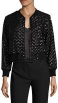 ABS by Allen Schwartz Women's Quilted Sequin Bomber Jacket