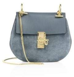 Chloé Drew Small Suede& Leather Saddle Crossbody Bag