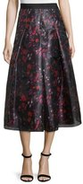 Sachin + Babi Abstract-Print Pleated Midi Skirt, Cayenne Red