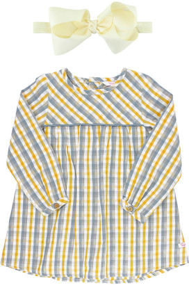 RuffleButts Plaid Long Sleeve Dress w/ Bow Headband, Size 3M-8