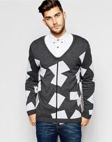 Asos Zip Through Cardigan With Square Design - Grey