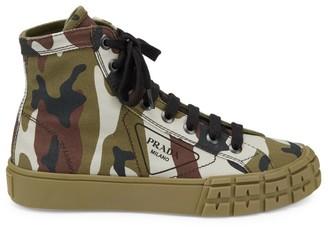 Prada Camo High-Top Canvas Sneakers