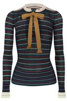 Sonia Rykiel Bow-Detailed Striped Cotton-Blend Sweater