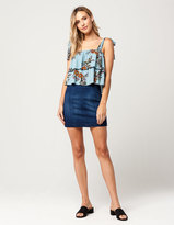 SKY AND SPARROW Seamed Denim Mini Skirt