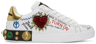 Dolce & Gabbana White Heart Graffiti Sneakers