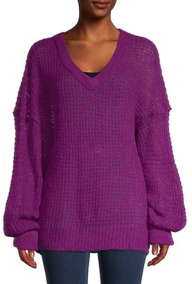 Free People V-Neck Knitted Tunic Sweater