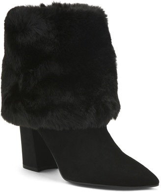 Faux Fur Cuff Pointy Toe Suede Booties