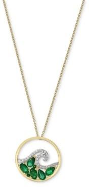 "Effy Emerald (1-1/6 ct. t.w.) & Diamond (1/8 ct. t.w.) Wave 18"" Pendant Necklace in 14k Gold"