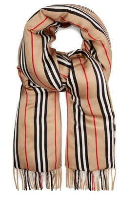 Burberry Check & Icon Stripe Padded Cashmere And Silk Scarf - Womens - Beige Multi