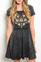 En Creme Charcoal Embroidered Dress
