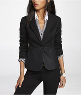 Express One Button (Minus The) Leather Pieced Jacket
