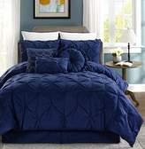 Chezmoi Collection Sydney 7-piece Pintuck Bedding Comforter Set (King, Navy)