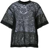 Vera Wang layered floral lace top - women - Cork/Silk/Nylon - 0
