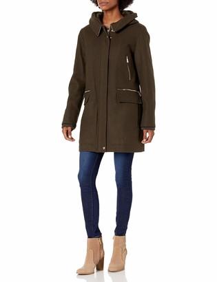Calvin Klein Womens Zip Front Duffle Wool Coat