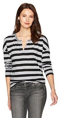 Stateside Women's Black Stripe Longsleeve Henley