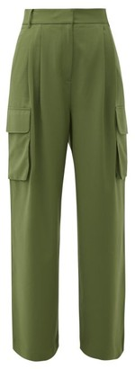 Tibi Crepe Wide-leg Cargo Trousers - Green