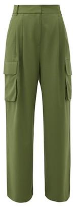 Tibi Crepe Wide-leg Cargo Trousers - Womens - Green