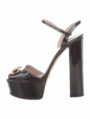 Gucci Horsebit Accent Patent Leather Sandals Black