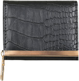 Yours Clothing Black Faux Snakeskin Small Purse With Metal Trim Detail