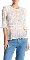 Rebecca Taylor Elbow Length Sleeve Lace Blouse