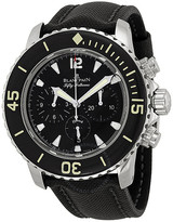 Fifty Fathoms Black Dial Flyback Chronograph Black Fabric Strap Men's Watch