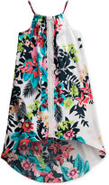 Sweet Heart Rose Tropical-Print High-Low Swing Dress, Big Girls (7-16)