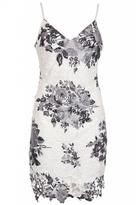 Quiz White and Black Crochet Floral Print Bodycon Dress