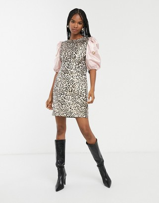 Sister Jane mini dress in leopard with embellished puff sleeves