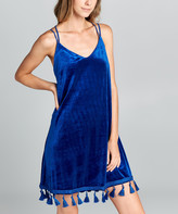 Simply Boho La Simply Boho LA Women's Casual Dresses ROYAL - Royal Blue Velvet Fringe-Hem Camisole Shift Dress - Women