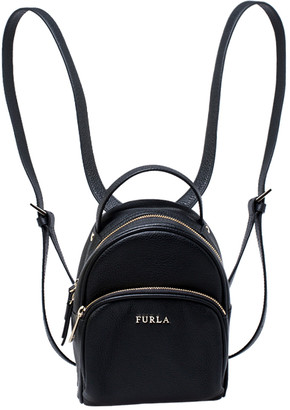 Furla Black Leather Mini Frida Backpack