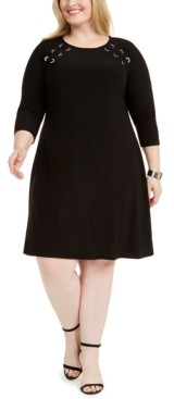 MSK Plus Size Grommet A-Line Dress