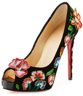 Christian Louboutin Folklo Embroidered Velvet Red Sole Pump, Black/Multi