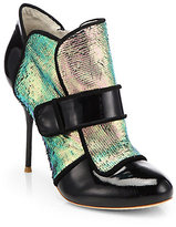 Webster Sophia Amis Mermaid Patent Leather Ankle Boots