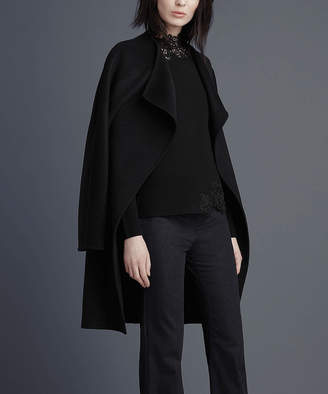 Tahari Women's Car Coats BLACK - Black Double Face Wool-Blend Wrap Coat - Women