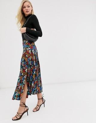 Neon Rose pleated midi skirt with split in vintage floral-Black
