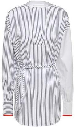 Victoria Victoria Beckham Belted Striped Cotton-poplin Blouse