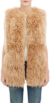 Barneys New York Women's Lamb Fur Long Vest-BROWN