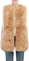 Barneys New York Women's Lamb Fur Long Vest-BROWN