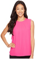 Vince Camuto Specialty Size Petite Sleeveless Front Pleat Blouse