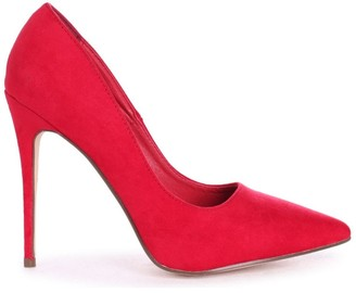 Linzi ASTON - Red Suede Classic Pointed Court Heel
