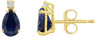 14K Gold Pear-Shaped Diamond Accent Gemstone Earrings