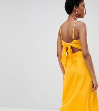 Vero Moda Tall midi dress with cut out back in yellow