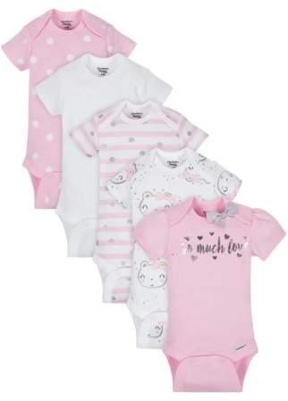 125f163e Organic Cotton Short Sleeve Onesies Bodysuits, 5pk (Baby Girls)