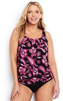 Classic Women's Plus Size Mastectomy Blouson Tankini Top-Black Twilight Floral